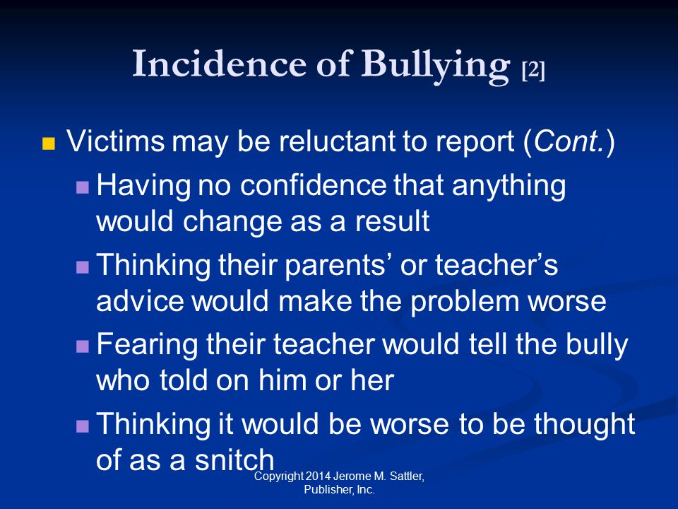 Incidence of Bullying [2]